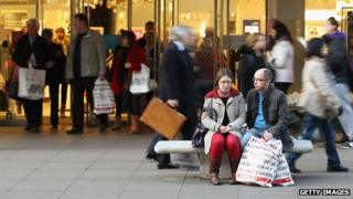 Tired Christmas shoppers