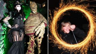 Halloween partygoers and 5 Nov sparkler