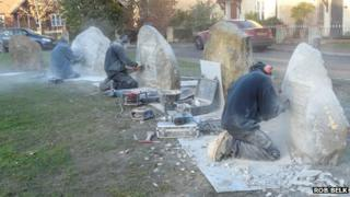 Masons from Abingdon Stone Ltd carving the insets in the stones to take the Welsh Slate Memorial Plaques
