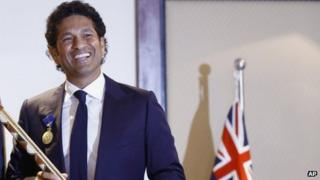 Cricketer Sachin Tendulkar after receiving the Order of Australia at an event in Mumbai on Tuesday, 6 Nov 2012