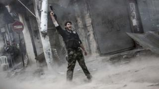 A Syrian rebel fighter in Aleppo, 4 November 2012