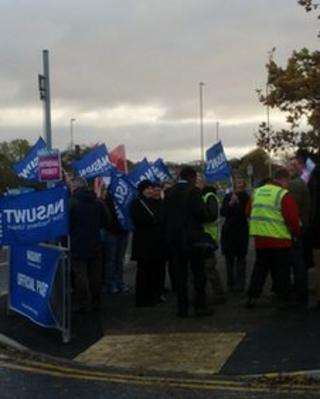 Striking NASUWT members outside South Shields Community School