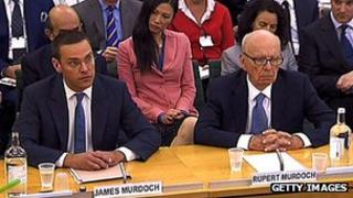 James and Rupert Murdoch being questioned by MPs in 2011