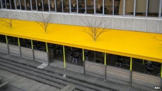The canopy outside the Piazza Cafe