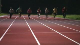 Youngsters sprint on the new Blackbridge Jubilee Athletics Track in Gloucester