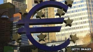 The euro symbol in front of the European Central Bank in Frankfurt