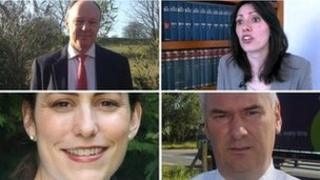 Candidates are (clockwise from top left) Martin Surl, Rupi Dhanda, Alistair Cameron and Victoria Atkins