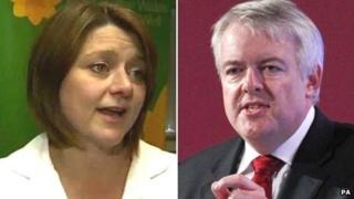 Plaid Cymru leader Leanne Wood and Labour First Minister Carwyn Jones