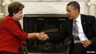 US President Obama and Brazil's Dilma Rousseff meeting at the White House, April 2012