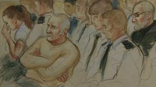 The Philpotts and Mr Mosley in court sketch