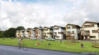 Architect's impression of homes in the new eco village
