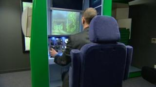London Midland train driver using a simulator
