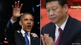 Barack Obama (L) and Xi Jinping (R)