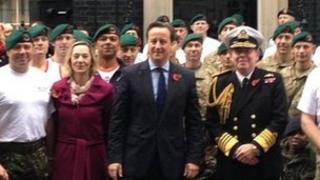 Prime Minister David Cameron with Marines outside Downing Street