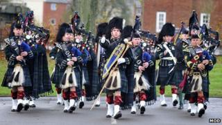Regimental Pipes and Drums parade