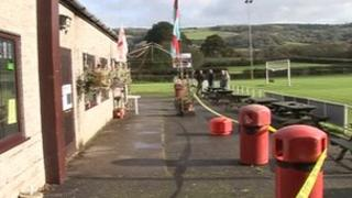 Cordoned off area at Cheddar Football Club