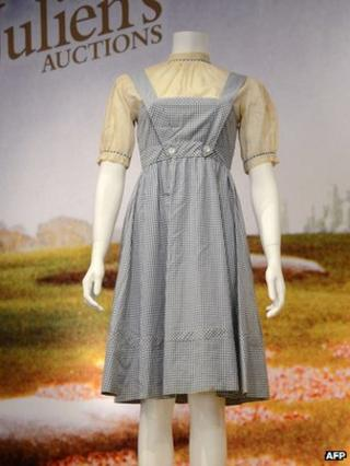 Judy Garland's dress in the Wizard of Oz at Julien's Auctions in Beverly Hills on 7/11/12