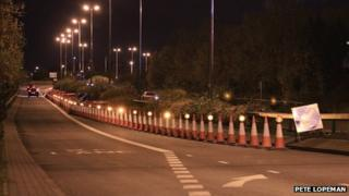 The barriers on Heartlands Parkway