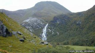 Steall Meadow and An Steall Ban waterfall