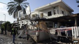 Damaged house in Netivot, Israel
