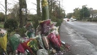 Crash scene at Mardley Hill, Woolmer Green