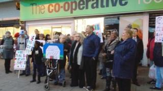 Protest outside Co-operative in St Ann's