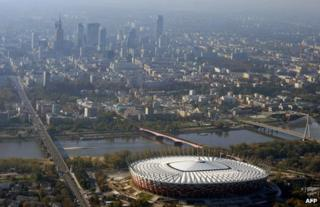 A view of Warsaw shows the national stadium built for Euro 2012 (file photo)