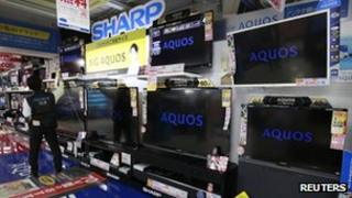 Sharp TVs on display