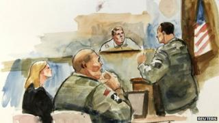 This courtroom artist's sketch shows Staff Sgt Robert Bales (2nd L), his civilian defence attorney Emma Scanlan (L) and presiding investigation officer Col Lee Deneke (C) listening to prosecuting military attorney Maj Rob Stelle (R) give his closing argument