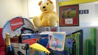 Some of the prizes being auctioned by BBC Guernsey for Children in Need