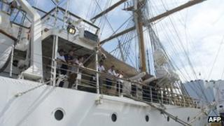 Sailors on board the Libertad on 13 November 2012