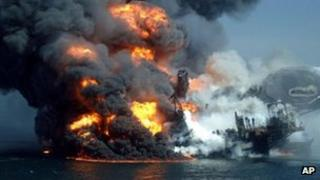 The fire at the Deepwater Horizon oil rig