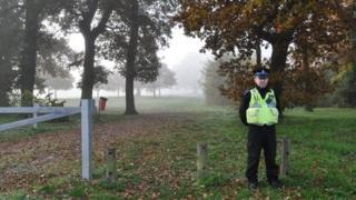 Police officer at Chantry Park in Ipswich