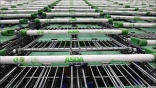 Asda shopping trolleys
