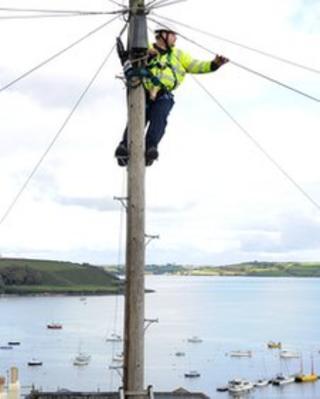 Engineer up a pole