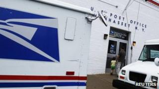 The entrance of a United States Post Office is seen in Manhasset, New York 1 August 2012