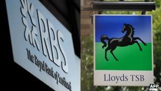RBS and Lloyds signs