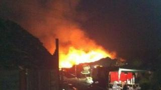 Fire at a recycling centre at Appspond Lane, Potters Crouch