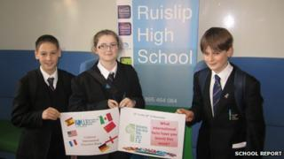 Ruislip High School pupils with International Education Week posters