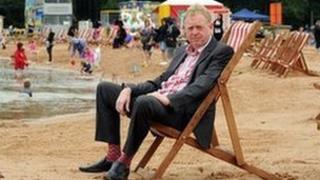 Stephen Hammon on his man-made beach in Fillongley that has been refused retrospective planning permission
