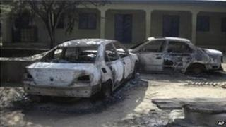Burnt our cars following an attack by Boko Haram in Potiskum, Nigeria (20 October 2012)