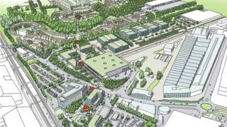 Plans for Napier Park, on the former Vauxhall car plant site in Luton