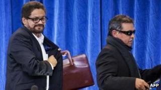 Ivan Marquez (left) and fellow Farc negotiator. File photo