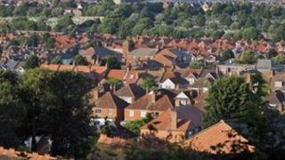 Rooftops of houses in Eastbourne, Sussex