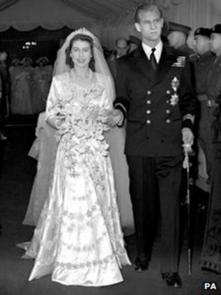 The Queen and Prince Philip on their wedding day in 1947