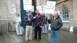 Fresh Air Desborough protesters outside county hall