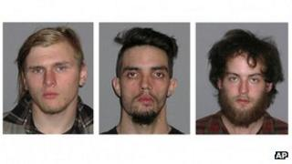 Undated file photos provided by the FBI (l-r) Brandon Baxter, Douglas Wright and Connor Stevens