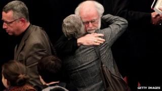 Dr Rowan Williams consoled after the failed vote on women bishops