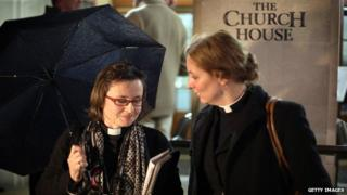 Female vicars outside Church House