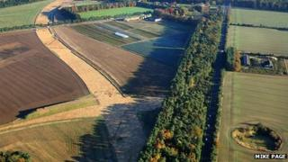 Aerial view of advance work on Elveden bypass